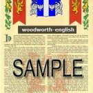 WOODWORTH - ENGLISH - Armorial Name History - Coat of Arms - Family Crest GIFT! 8.5x11