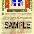 WOODYARD - ENGLISH - Armorial Name History - Coat of Arms - Family Crest GIFT! 8.5x11