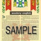 WOOLERY - ENGLISH - Armorial Name History - Coat of Arms - Family Crest GIFT! 8.5x11