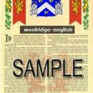 WOOLRIDGE - ENGLISH - Armorial Name History - Coat of Arms - Family Crest GIFT! 8.5x11