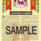WOOSLEY - ENGLISH - Armorial Name History - Coat of Arms - Family Crest GIFT! 8.5x11