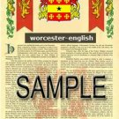 WORCESTER - ENGLISH - Armorial Name History - Coat of Arms - Family Crest GIFT! 8.5x11