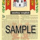 WORLEY - ENGLISH - Armorial Name History - Coat of Arms - Family Crest GIFT! 8.5x11