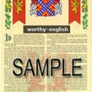 WORTHY - ENGLISH - Armorial Name History - Coat of Arms - Family Crest GIFT! 8.5x11