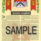 WRENN - ENGLISH - Armorial Name History - Coat of Arms - Family Crest GIFT! 8.5x11