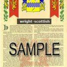 WRIGHT - SCOTTISH - Armorial Name History - Coat of Arms - Family Crest GIFT! 8.5x11