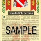WUNDERLICH - GERMAN - Armorial Name History - Coat of Arms - Family Crest GIFT! 8.5x11