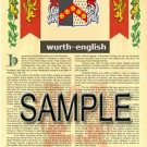WURTH - ENGLISH - Armorial Name History - Coat of Arms - Family Crest GIFT! 8.5x11