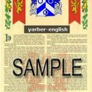 YARBER - ENGLISH - Armorial Name History - Coat of Arms - Family Crest GIFT! 8.5x11