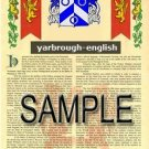 YARBROUGH - ENGLISH - Armorial Name History - Coat of Arms - Family Crest GIFT! 8.5x11