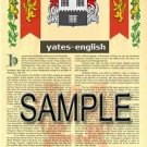 YATES - ENGLISH - Armorial Name History - Coat of Arms - Family Crest GIFT! 8.5x11