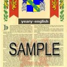 YEARY - ENGLISH - Armorial Name History - Coat of Arms - Family Crest GIFT! 8.5x11