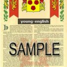 YOUNG - ENGLISH - Armorial Name History - Coat of Arms - Family Crest GIFT! 8.5x11