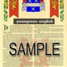 YOUNGMAN - ENGLISH - Armorial Name History - Coat of Arms - Family Crest GIFT! 8.5x11