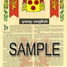 YUNG - ENGLISH - Armorial Name History - Coat of Arms - Family Crest GIFT! 8.5x11