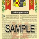 ZAHN - GERMAN - Armorial Name History - Coat of Arms - Family Crest GIFT! 8.5x11