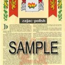 ZAJAC - POLISH - Armorial Name History - Coat of Arms - Family Crest GIFT! 8.5x11
