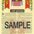 ZAK - GERMAN - Armorial Name History - Coat of Arms - Family Crest GIFT! 8.5x11
