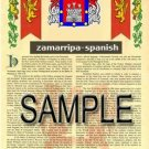 ZAMARRIPA - SPANISH - Armorial Name History - Coat of Arms - Family Crest GIFT! 8.5x11