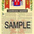 ZAMBRANO - SPANISH - Armorial Name History - Coat of Arms - Family Crest GIFT! 8.5x11