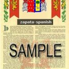 ZAPATA - SPANISH - Armorial Name History - Coat of Arms - Family Crest GIFT! 8.5x11