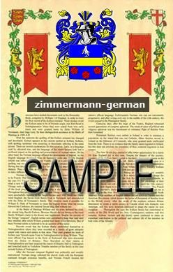 ZIMMERMANN - GERMAN - Armorial Name History - Coat of Arms - Family Crest GIFT! 8.5x11