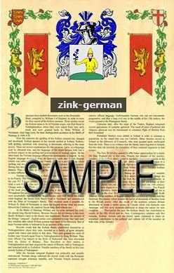 ZINK - GERMAN - Armorial Name History - Coat of Arms - Family Crest GIFT! 8.5x11