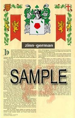 ZINN - GERMAN - Armorial Name History - Coat of Arms - Family Crest GIFT! 8.5x11