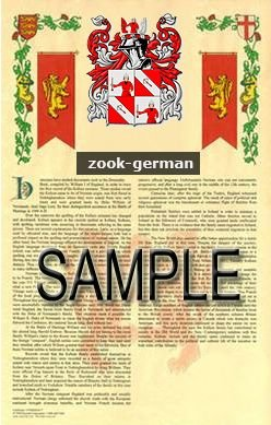 ZOOK - GERMAN - Armorial Name History - Coat of Arms - Family Crest GIFT! 8.5x11