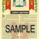 ZUBER - GERMAN - Armorial Name History - Coat of Arms - Family Crest GIFT! 8.5x11