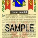 TOVAR - SPANISH - Armorial Name History - Coat of Arms - Family Crest GIFT! 11x17
