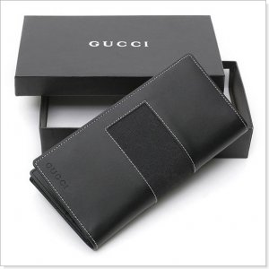 GUCCI Black GG Logo Canvas/Leather Checkbook Wallet