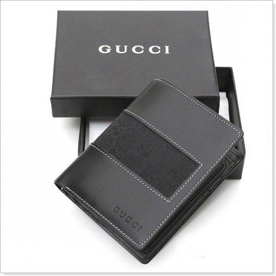 GUCCI Black Monogram Canvas/Leather Men's Wallet
