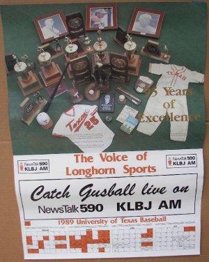 1989 TEXAS LONGHORNS BASEBALL Poster Schedule GUSBALL KLBJ AM Radio