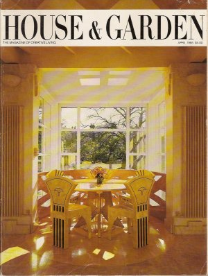 HOUSE & GARDEN April 1985 1980's Design Magazine Theodate Pope Riddle, Charles Jencks, Vreelands