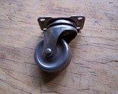 One Vintage Hardware Swivel Caster Steel Wheel 1-3/8 inch diameter, trunk or chest