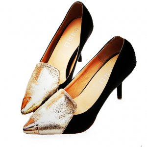 Black Pumps with Gold Front Detail