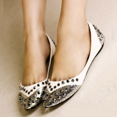 Silver and White Metallic Studded Flats
