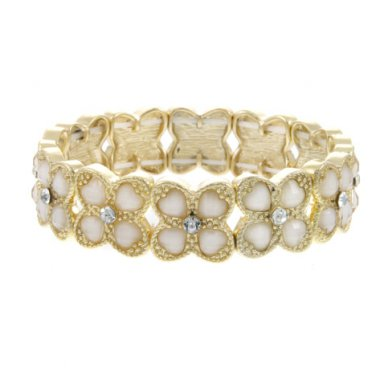 White Crystal Accented Epoxy Stone Clover Stretch Bracelet