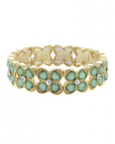 Mint Green Crystal Accented Epoxy Stone Clover Stretch Bracelet