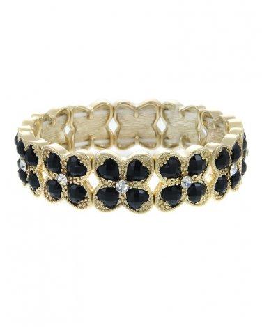Black Crystal Accented Epoxy Stone Clover Stretch Bracelet