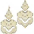 Gold Filigree Earrings with Crystals