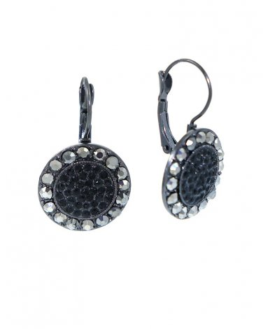 Black Crystal Disc Earrings