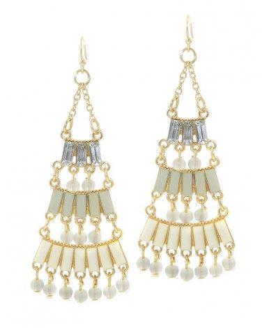 Ivory Epoxy Stone Chandelier Earrings
