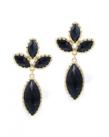 Black Golden Floral Dangle Earrings
