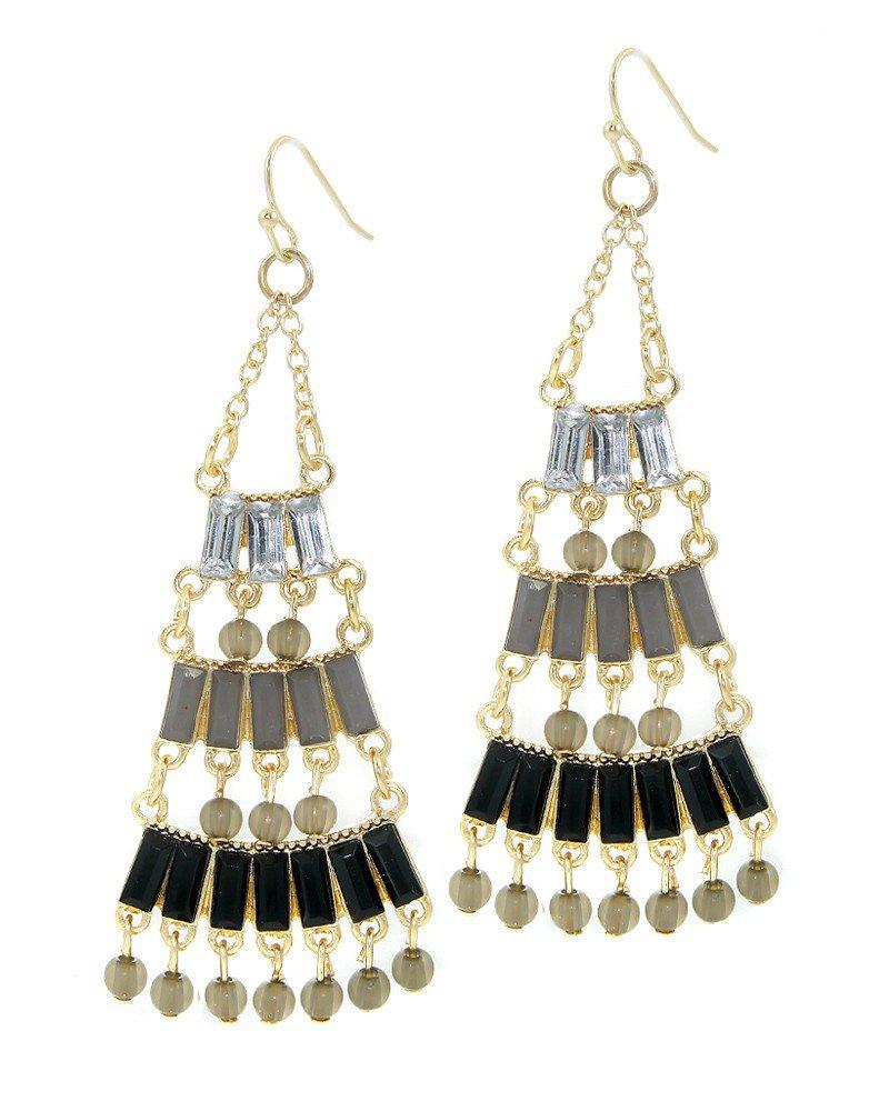 Black Epoxy Stone Chandelier Earrings