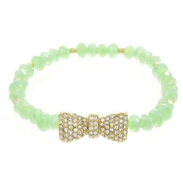 Mint Green Beaded Stretch Bracelet with Crystal Bow