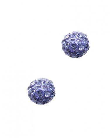Purple Crystal Round Studs