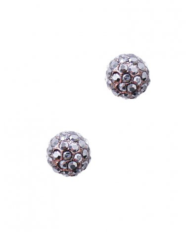 Brown and Gray Crystal Round Studs