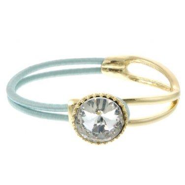 Gold Blue Crystal Stretch Bracelet